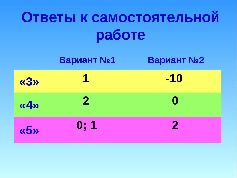 Ответы к самостоятельной работе Вариант №1Вариант №2 «3» 1 -10 «4» 2 0...