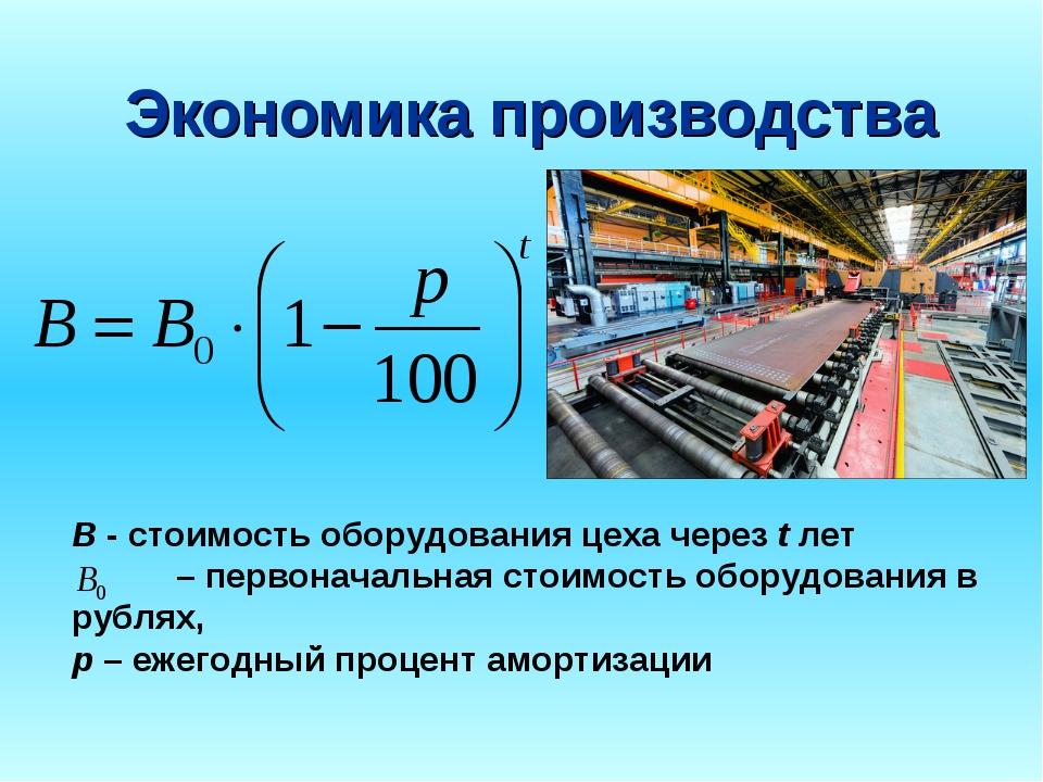 Экономика производства B - стоимость оборудования цеха черезtлет – первона...