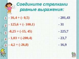 Соедините стрелками равные выражения: 1 2 3 4 5 - 16,4 + (- 0,5)- 201,43 -