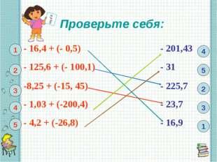 Проверьте себя: 1 1 2 3 4 5 4 5 2 3 - 16,4 + (- 0,5)- 201,43 - 125,6 + (- 1
