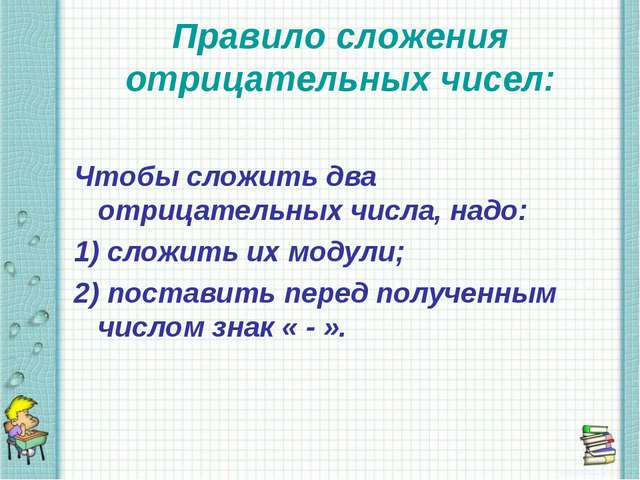 Правило сложения отрицательных чисел: Чтобы сложить два отрицательных числа,...