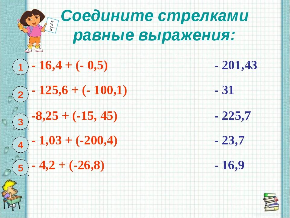 Соедините стрелками равные выражения: 1 2 3 4 5 - 16,4 + (- 0,5)- 201,43 -...