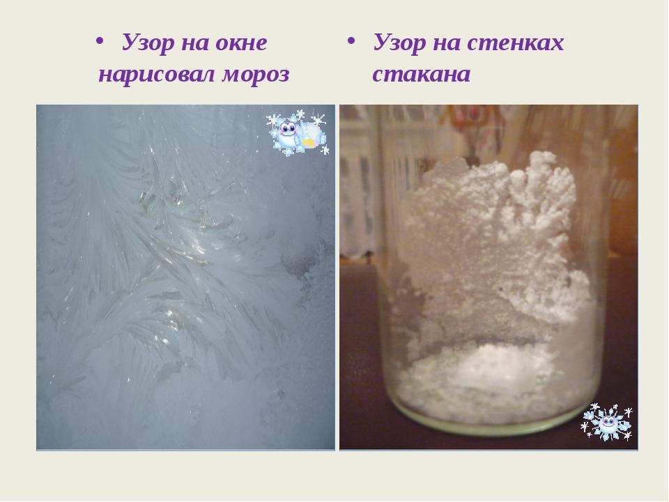 Узор на окне нарисовал мороз Узор на стенках стакана