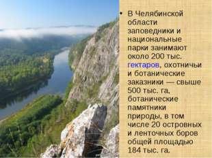 В Челябинской области заповедники и национальные парки занимают около 200 тыс