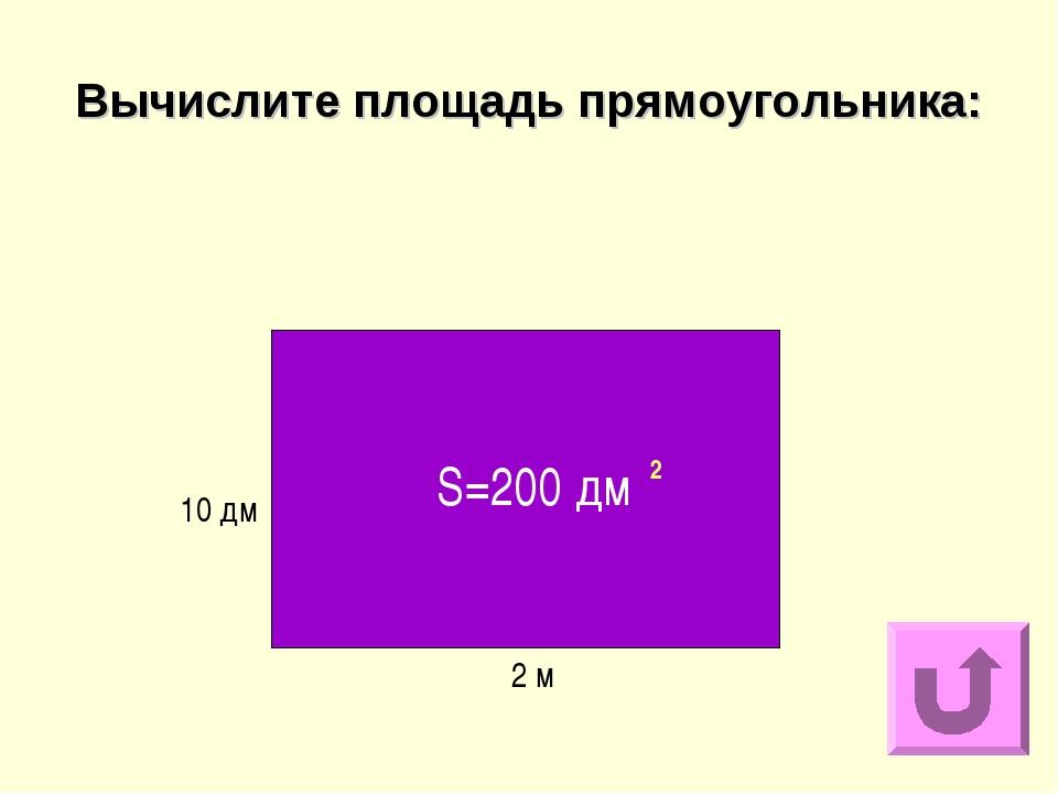 Вычислите площадь прямоугольника: 2 м 10 дм