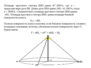 Площадь кругового сектора SBB1 равна π /360*a, где а — градусная ме