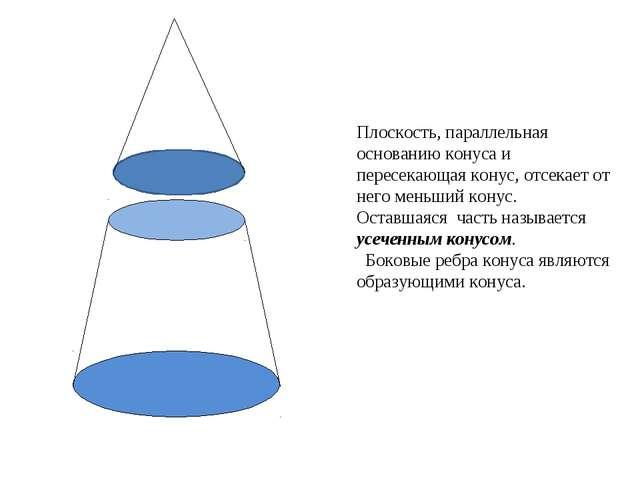 Плоскость, параллельная основанию конуса и пересекающая конус, отсекает от не...