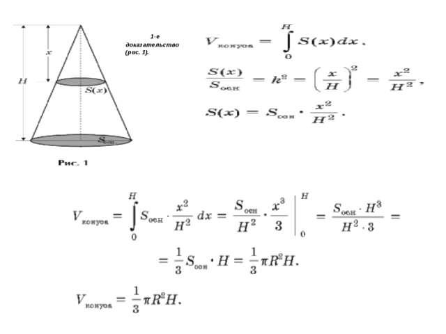 Объем конуса 1-е доказательство (рис. 1). ...