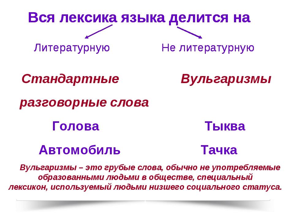 Стандартные Вульгаризмы разговорные слова Голова Тыква Автомобиль Тачка Вуль...