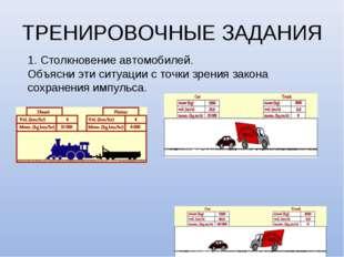 ТРЕНИРОВОЧНЫЕ ЗАДАНИЯ 1. Столкновение автомобилей. Объясни эти ситуации с точ