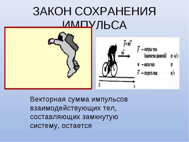 ЗАКОН СОХРАНЕНИЯ ИМПУЛЬСА Векторная сумма импульсов взаимодействующих тел, со...