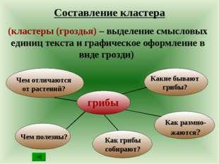 Составление кластера (кластеры (гроздья) – выделение смысловых единиц текста
