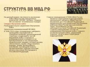 На данный момент численность внутренних войск МВД России определена в количе