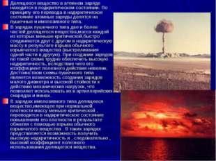 Делящееся вещество в атомном заряде находится в подкритическом состоянии. По
