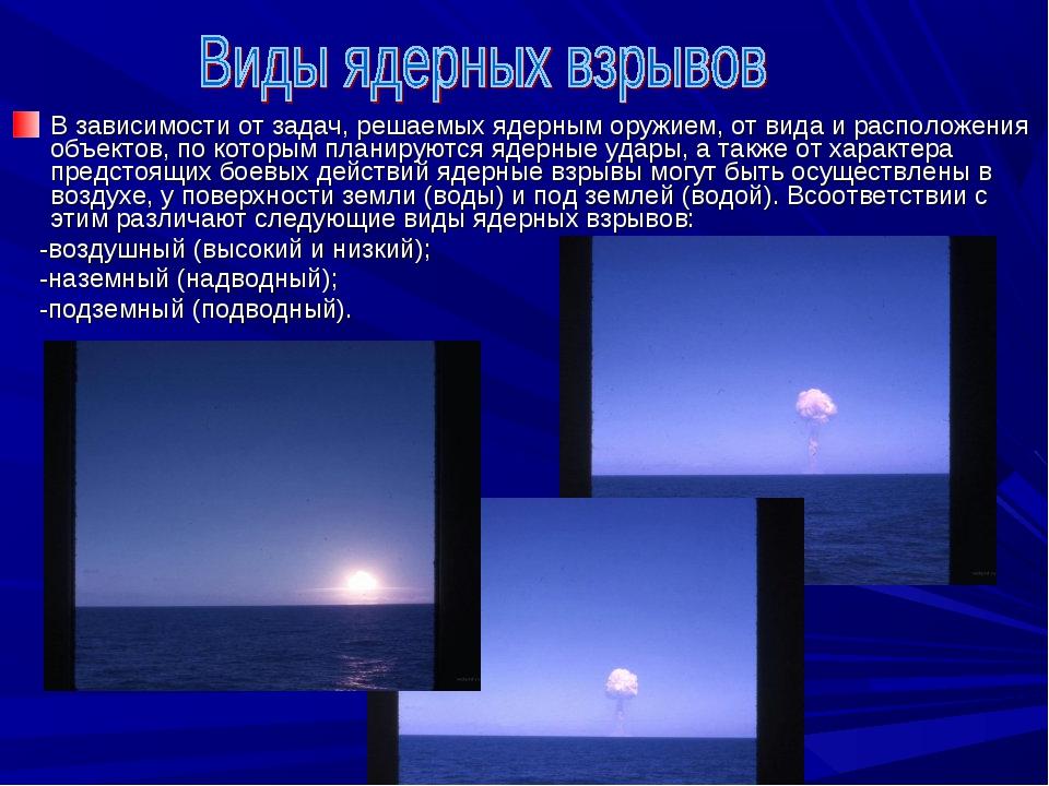 В зависимости от задач, решаемых ядерным оружием, от вида и расположения объе...