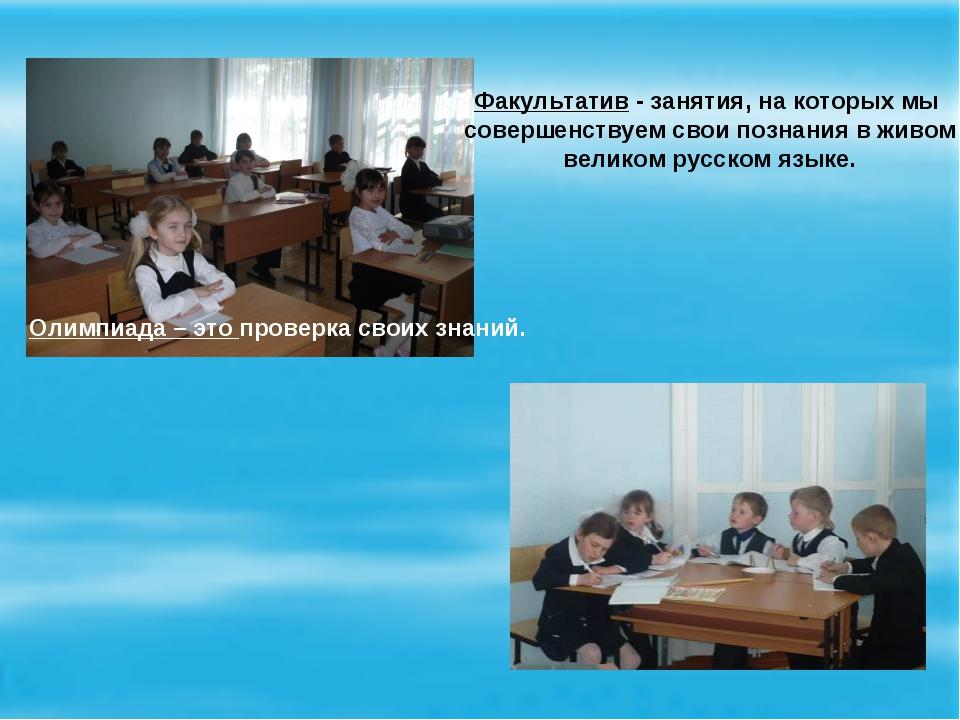 Олимпиада – это проверка своих знаний. Факультатив - занятия, на которых мы с...