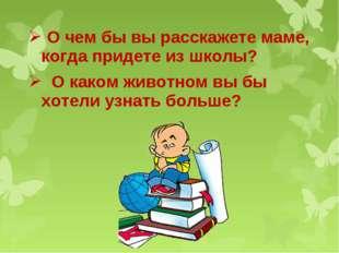 О чем бы вы расскажете маме, когда придете из школы? О каком животном вы бы