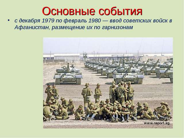 Основные события с декабря 1979 по февраль 1980 — ввод советских войск в Афга...