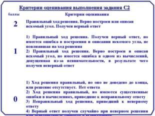 Критерии оценивания выполнения задания С2 баллыКритерии оценивания 2Правиль
