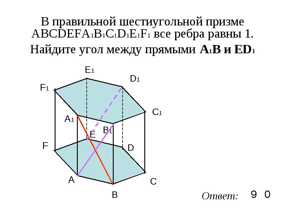 В правильной шестиугольной призме ABCDEFA1B1C1D1E1F1 все ребра равны 1. Найди...