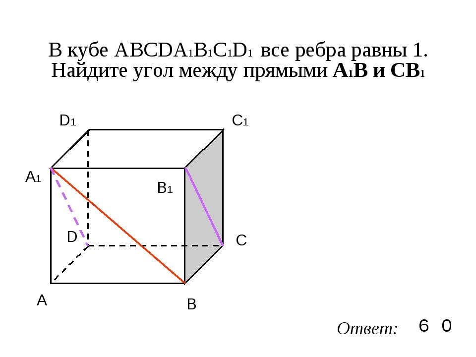 В кубе ABCDA1B1C1D1 все ребра равны 1. Найдите угол между прямыми А1В и CB1 A...