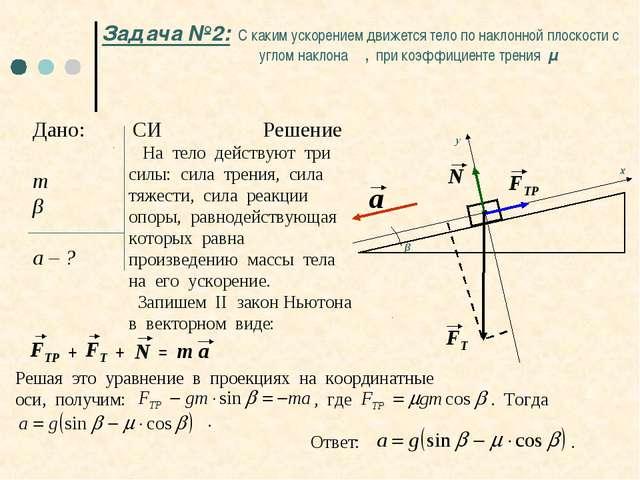 Задача №2: С каким ускорением движется тело по наклонной плоскости с углом на...