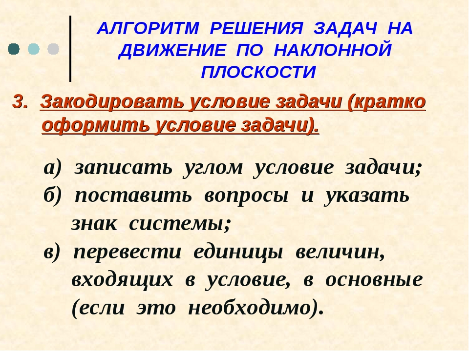 АЛГОРИТМ РЕШЕНИЯ ЗАДАЧ НА ДВИЖЕНИЕ ПО НАКЛОННОЙ ПЛОСКОСТИ 3. Закодировать усл...