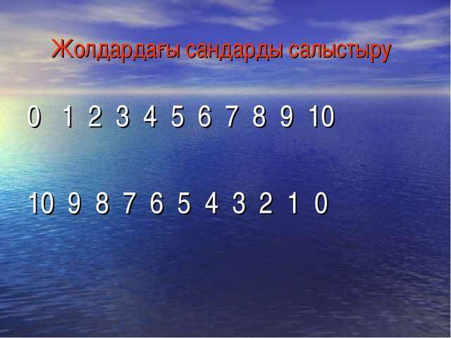 Жолдардағы сандарды салыстыру 0   1  2  3  4  5  6  7  8  9  10 10  9  8  7...