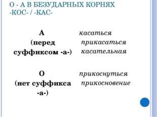 О - А В БЕЗУДАРНЫХ КОРНЯХ -КОС- / -КАС- А (перед суффиксом -а-)касаться прик