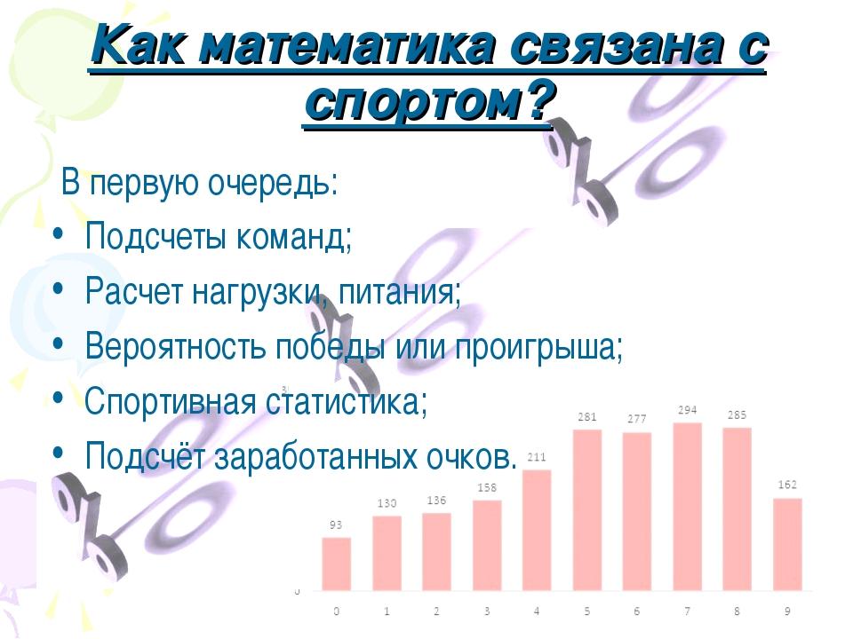 Как математика связана с спортом? В первую очередь: Подсчеты команд; Расчет н...