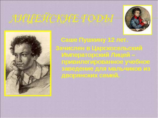 Саше Пушкину 12 лет. Зачислен в Царскосельский Императорский Лицей – привиле...