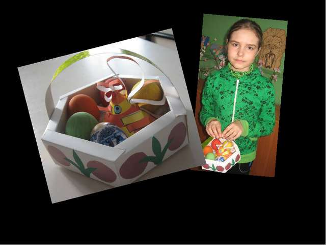 Olesja hält in den Händen fest ihr aus Karton gemachtes Nest.