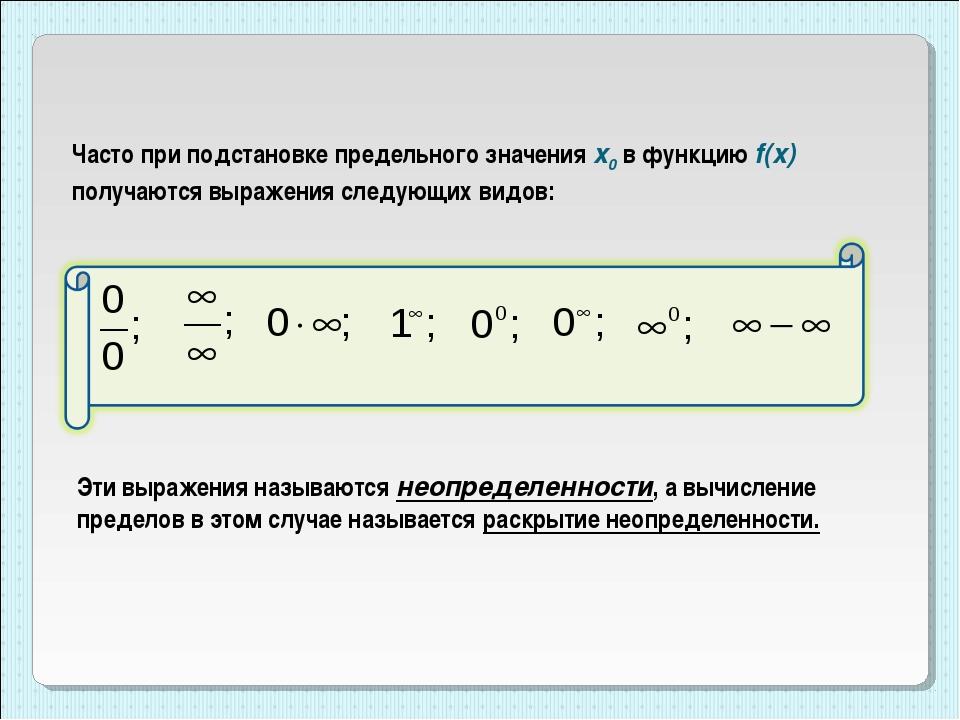 Часто при подстановке предельного значения x0 в функцию f(x) получаются выраж...