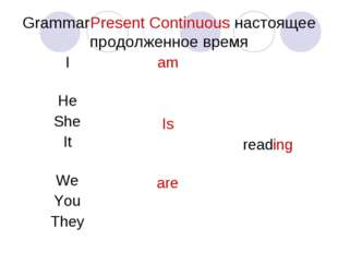 Grammar	Present Сontinuous настоящее продолженное время I He She It We You Th