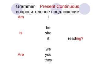 Grammar Present Сontinuous вопросительное предложение Am Is AreI he she it