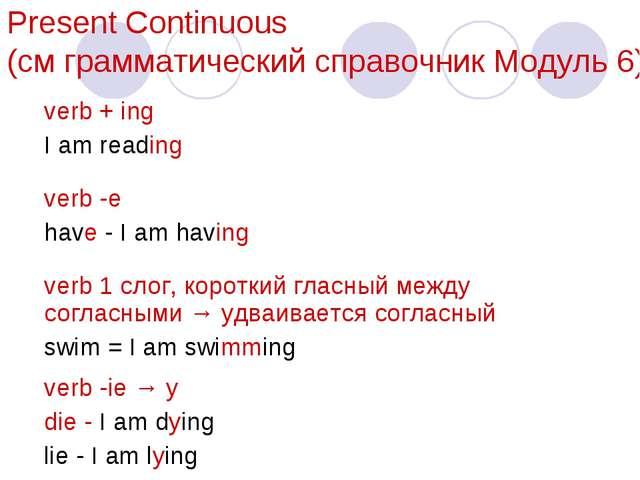 Present Сontinuous (см грамматический справочник Модуль 6) verb + ing I am re...