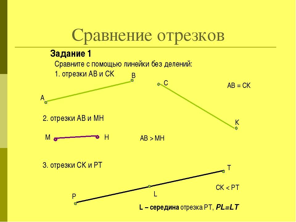 Сравнение отрезков Задание 1 Сравните с помощью линейки без делений: 1. отрез...