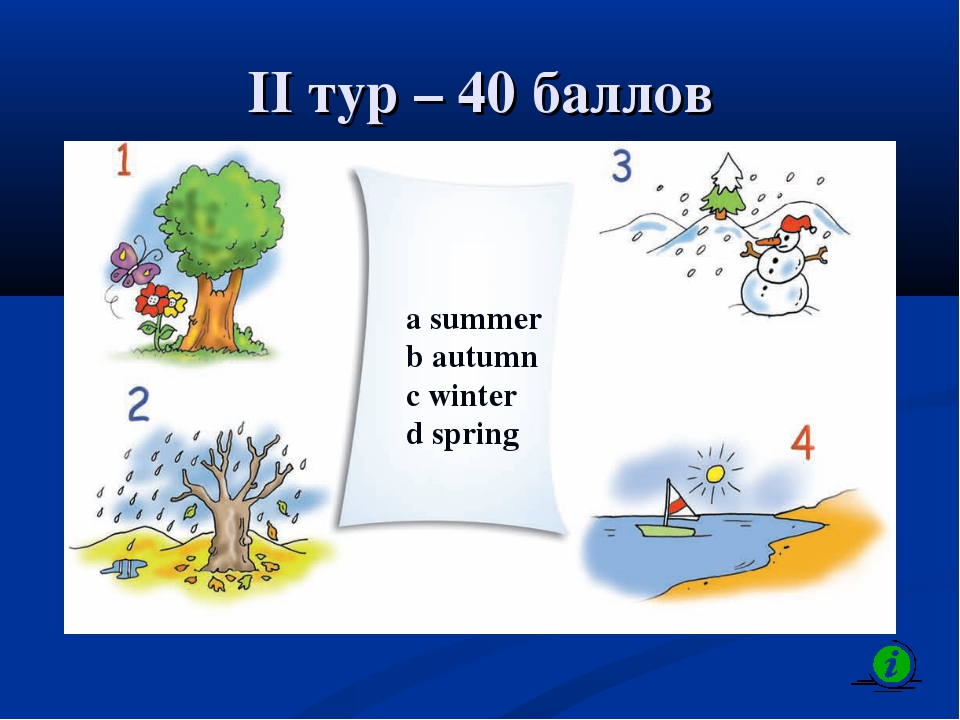 II тур – 40 баллов a summer b autumn c winter d spring