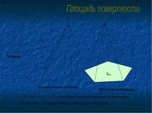 Четырёхугольная пирамида Пятиугольная пирамида Sполн.=Sбок.+ Sосн. – площадь