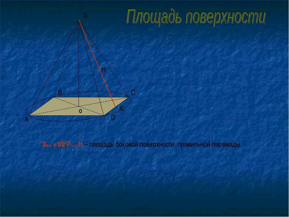 о S А В С D о А В D К Sбок. =1/2 Р осн.* Н – площадь боковой поверхности прав...