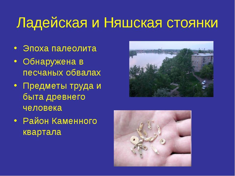 Ладейская и Няшская стоянки Эпоха палеолита Обнаружена в песчаных обвалах Пре...