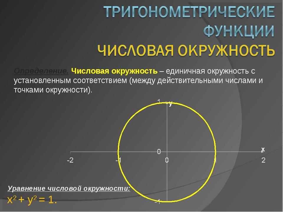Определение. Числовая окружность – единичная окружность с установленным соотв...