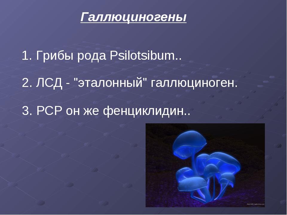 "Галлюциногены 1.Грибы рода Psilotsibum.. 2. ЛСД - ""эталонный"" галлюциноген...."