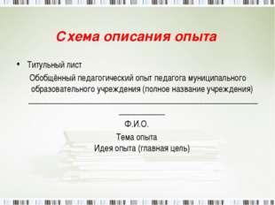 Схема описания опыта Титульный лист Обобщённый педагогический опыт педагога м
