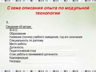 Схема описания опыта по модульной технологии 1. Сведения об авторе: Ф.И.О. Об