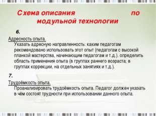 Схема описания по модульной технологии 6. Адресность опыта. Указать адресную