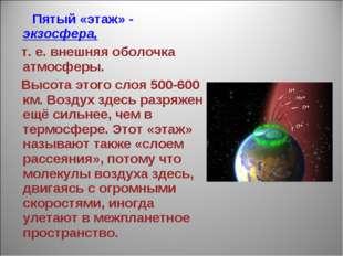 Пятый «этаж» - экзосфера, т. е. внешняя оболочка атмосферы. Высота этого сло