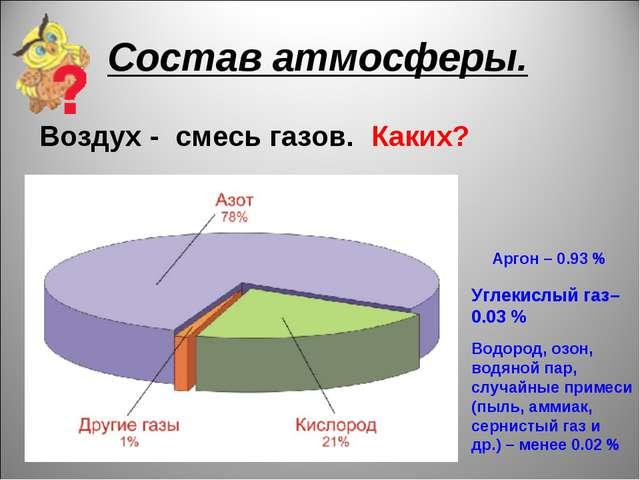 Состав атмосферы. Воздух - смесь газов. Каких? Аргон – 0.93 % Углекислый газ–...
