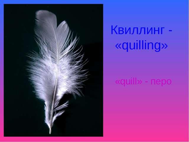 Квиллинг - «quilling» «quill» - перо
