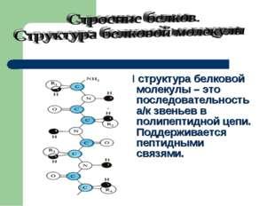 I структура белковой молекулы – это последовательность а/к звеньев в полипеп